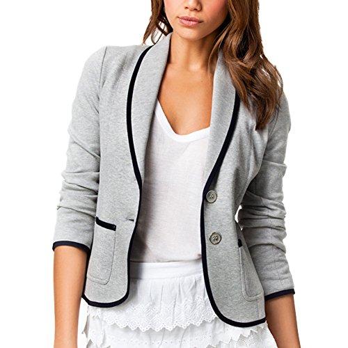 DELEY Donne Autunno Slim Fit Elegante Ufficio Business Giacca Tuta Blazer Top Camicetta Outwear Maglietta Grigio Taglia M