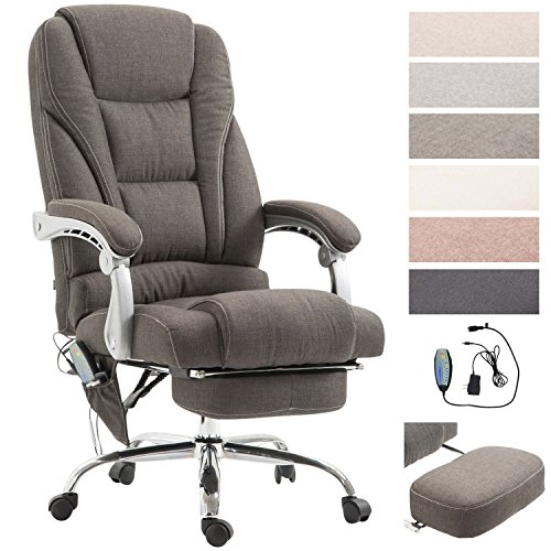 CLP Chefsessel Pacific Stoff mit Massagefunktion l Höhenverstellbarer Bürostuhl mit ausziehbarer Fußablage l Max. belastbar bis 150 kg Dunkelgrau