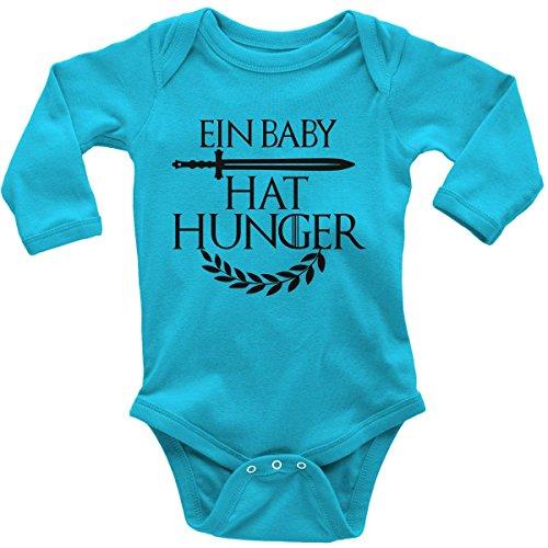 Mikalino Babybody mit Spruch für Jungen Mädchen Unisex Langarm EIN Baby hat Hunger | handbedruckt in Deutschland | Handmade with Love, Farbe:Atoll, Grösse:56