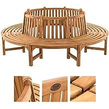 CLP Baumbank NOVUM aus massivem Teak-Holz, 360° Rund-Bank, geeignet für mindestens 8 Personen Ø ca. 132 cm / 250 cm (innen / außen)