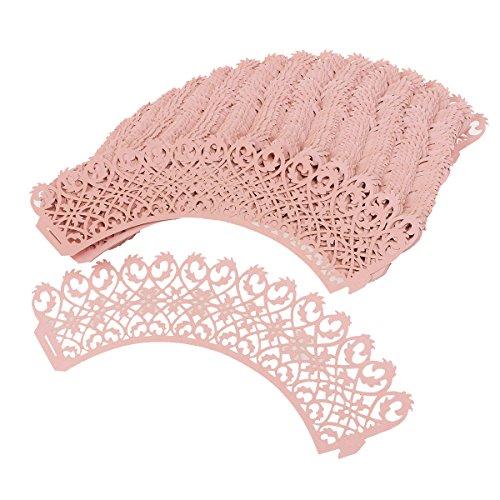 ULTNICE 50 Stück Cupcake Wrappers Fall für Hochzeit Geburtstagsparty (rosa) (Cupcake-wrapper)
