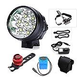 TANSUO luci LED per Bici,9000 Lumen 7X CREE XM-L T6 LED 3 modalità Bici Bicicletta Lampada Esterna Luce Anteriore Potente Bici Luce + fanale Posteriore