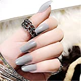 BloomingBoom 24Pcs/Lot Falsche Nägel Ballerina Falscher Nagel Lang Volle Deckung Bereits Gefärbt False Nail for Predesign Press On Coffin Grau Grau