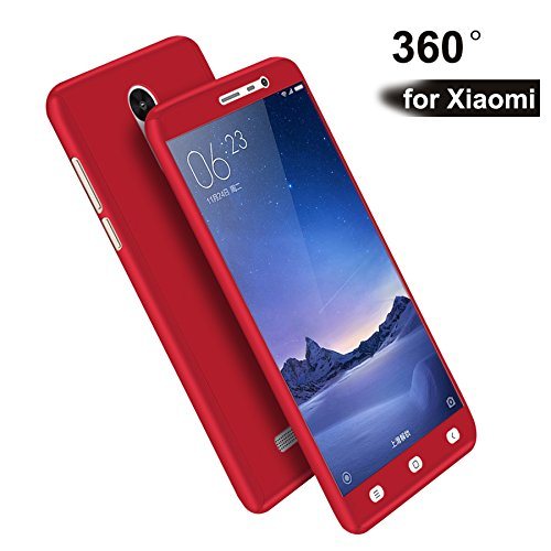 """LES Redmi Note 4 Cases and Cover (Red) """"360 Degree"""" Matte Finish Full Body Protection"""