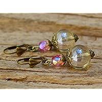 Vintage Ohrringe mit Glasperlen - klar & pink