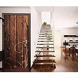 Haipeiy Türaufkleber Kunst Blumenmuster auf Holztür Aufkleber für Schlafzimmer Wohnzimmer Geschenk PVC wasserdicht Aufkleber Tür Wrap 77x200cm