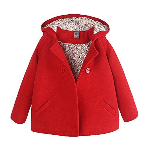 Fashion Baby Mädchen Wollmantel Mädchenjacke Mit Kapuze Kinder Windjacke Winter Mantel Rose Rot 3-7 Jahre Rot 90