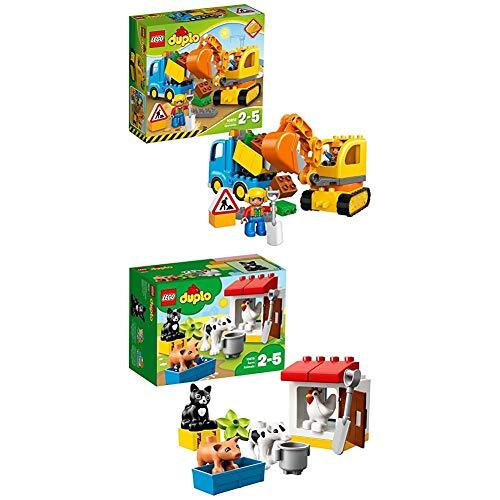 Lego Duplo 10812 - Bagger und Lastwagen, Ideales Geschenk für 2 Jährige + Tiere auf dem Bauernhof, Lernspielzeug