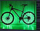 #8: Green : Leo 2017 New 20 LED Waterproof Cycling Bicycle Bike Tyre Light Wheel Spokes Valve Lights Led Neon Light Bike Accessories