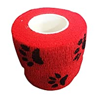 SUPEWOLD Pet Bandage, Cohesive Tape, Self Adhering Stick Bandage, Elastic and Non-Woven Fabrics with Decorative Patterns(5 * 4.5,Red-black dog claw)