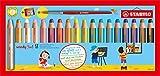 Stabilo Buntstift, Wasserfarbe und Wachsmalkreide woody (3 in 1, mit Spitzer und Pinsel 18 verschiedene Farben) 18er Pack