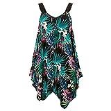 Yvelands Plus Size Weste Tank Top Damen Kleid unregelmäßig ärmelloses Sommerkleid (Himmelblau,CN-M)
