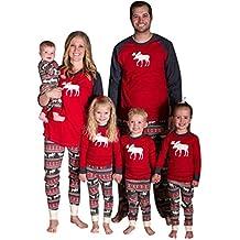 ISSHE Pijamas de Navidad Familia Pijamas Navideñas Adultos Pijama Familiares Manga Larga Hombre Mujer Niños Niña