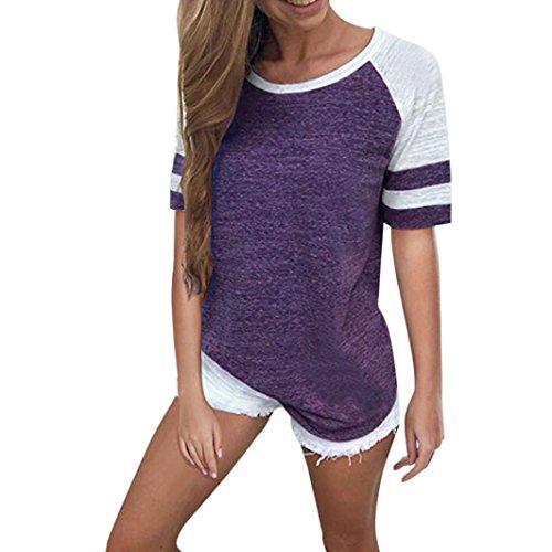 JUTOO Sommer Frauen Weiss Ninjago Stretch Gogo AVA DHL Desigual Pyjama Thai mexx Wish Günstig Turn Enges Wetlook Set Silber Tennis Wander Tumblr(Lila, EU:48/CN:XXXL) (Tiger Damen Weiß Strass)
