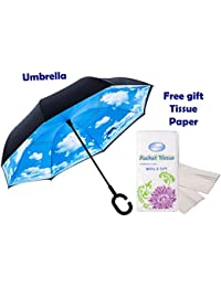 Shoppoworld Windproof Reverse Folding Double Layer Inverted Umbrella With C Shape Handle, Self Standing, Inside...