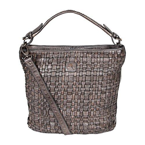 """Bear Design Shopper Bag Borsa Donna con tracolla """"Tess"""" intrecciato, in pelle lavata Grigio"""