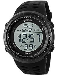Sunjas Reloj Deportivo de Pulsera Resistente al Agua Digital LED Alarma Calendario Reloj para Hombre Mujer- Color de Negro