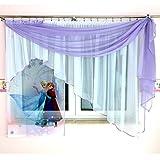 Tkaniny GFE-3 Disney 3teilige Kindergardine mit Schal/Kindergardine für Mädchen/Kinder mit Motiv EISKÖNIGIN ELSA & Anna Frozen für Kinderzimmer/Mädchenzimmer Lila