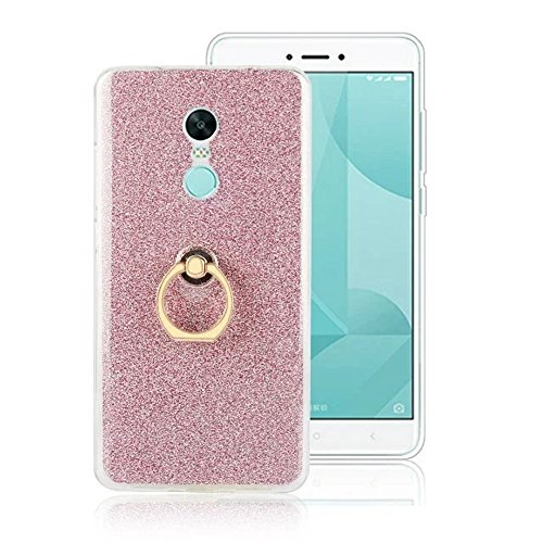 Soft Flexible TPU Back Cover Case Shockproof Schutzhülle mit Bling Glitter Sparkles und Kickstand für Xiaomi Hongmi Note 4X ( Color : Pink ) Pink