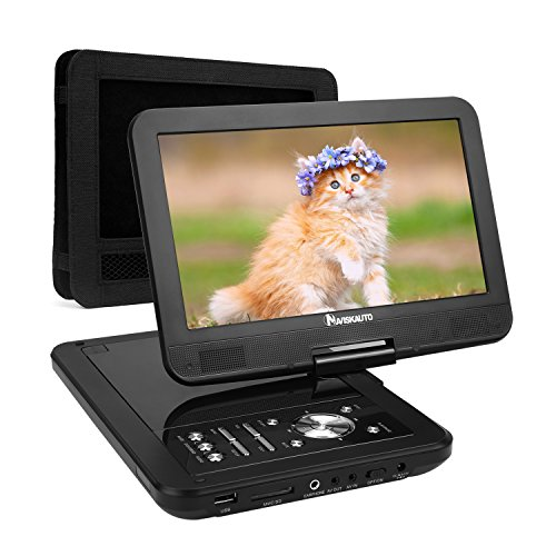 "10,1"" HD Tragbarer DVD Player 5 Stunden Akku NAVISKAUTO Auto Ferseher Kopfstütze Monitor Media Video DVD-Player Kopfstützenhalterung SD/USB AV IN/OUT PD1001"