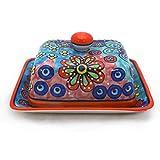 Gall&Zick Butterdose mit Deckel Butterbehälter Keramik Handbemalt Bunt (Orangener Rand)
