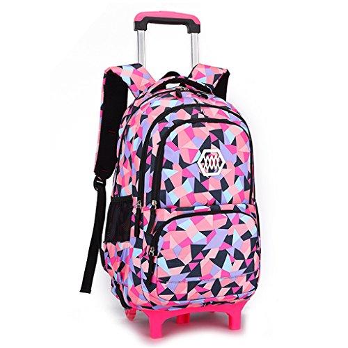 Rucksack Kinder Weitermachen, (Kinder Rolling School Rucksack - Trolley weitermachen Gepäck Mädchen Schultasche Kids Bookbag Reisetaschen (2 Räder))