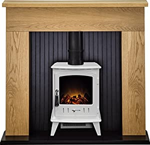 Adam Innsbruck Stove Suite in Oak with Aviemore Electric Stove in Pure White, 48 Inch