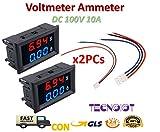 2pcs DC voltmeter ammeter Blue 100V 10A + LED red digital voltmeter...