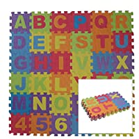 ADEPTNA 36 PCS MULTI-COLOURED SOFT EVA FOAM JIGSAW PLAY MAT LETTERS AND NUMBERS - ALPHABET FLOOR MAT FOR KIDS PLAY ROOM - EACH TILE MEASURES 15.4CM X 15.4CM X 1CM