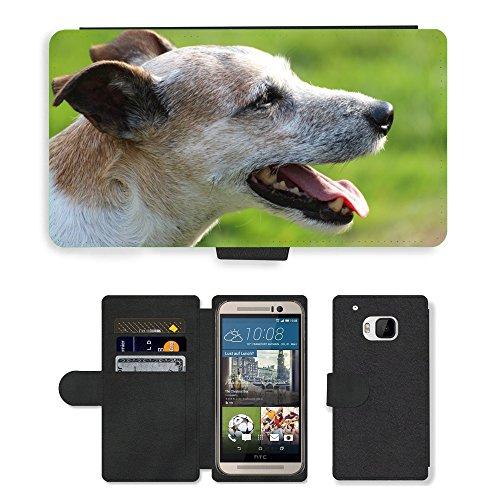 PU Flip Carcasa Funda de Cuero Piel Cubre Case // M00133651 Cane Capo Close Parson Russell Terrier // HTC One M9