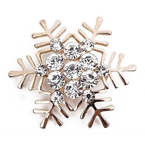 hten Schneeflocken Serie Pins Stil Weihnachten Geschenk Frauen Brosche/Herren Brosche Anzug Brooch / Urlaub Zubehör/ Hochzeit Dekoration/ Geburtstags Geschenk Pin,1 Stuck size 5 x 5 cm (Golden) (Schneeflocke-pin)