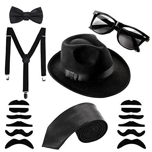 Set Al Capone Hut Krawatte Hosenträger Schnurrbart Sonnenbrillen,20er Jahre Party Kostüum im Gangster Zuhälter-Look (Mafia Kostüm Party)