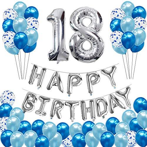 Toupons 18 Geburtstag Dekorationen für Jungen und Mädchen, Geburtstagsdeko Blau 18th Happy Birthday Banner Girlande Folienballon Konfetti Luftballons Deko Geburtstag Party Set