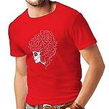 N4324 Männer T-Shirt Mode Schädel Blumen (Medium Rot Mehrfarben)