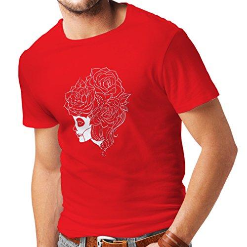 lepni.me N4324 Männer T-Shirt Mode Schädel Blumen (Small Rot Mehrfarben)