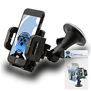 Black Multi-Directional Dashboard / Windscreen, Case Compatible (Use with or without your existing case!) Clip On Suction Mount In Car Holder For Alcatel One Touch 890D