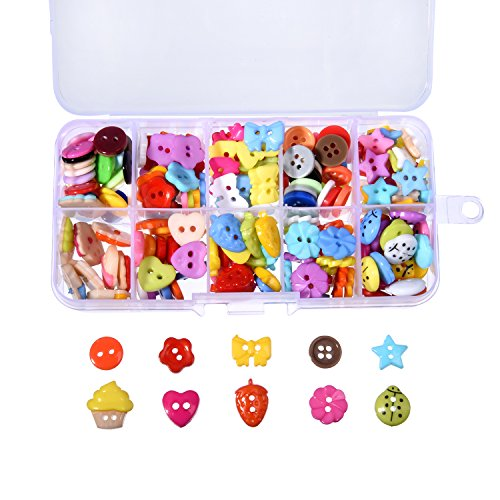 240 Pieces Sewing Button Craft Buttons Resin Button with Plastic Storage Box for DIY Sewing Crafting