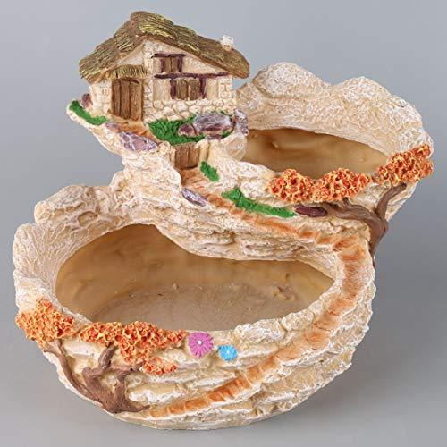 XINJINGHE Kleine Kreative Pflanzensandung Erfolgreiche Anlage DIY Container dekoriert mit Mini Hanging Fairy Garden und Sweet House für Urlaubsdekoration und Geschenke,Yellow (Anlage Fairy Garden)