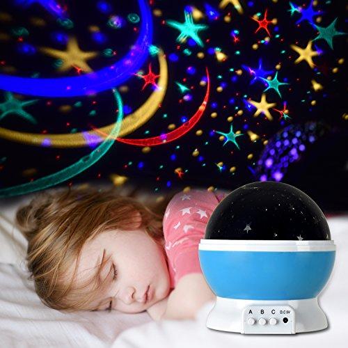 Sternenhimmel Projektor, LED Star Projektor | drehbar Star Projektor | Baby Nachtlicht 360 Dreht Grad Sternenhimmel Projektor 4 pcs LED-Kornen Perfekt für bedroom, wedding, birthday, Parties (blue)