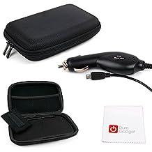 DURAGADGET SET Estuche / Funda Rígida Para Navegador GPS + Cargador Mechero Coche MicroUSB + Paño Limpiador - Alta Calidad