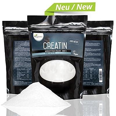 NEW: Creatine Monohydrate 500g | 200 Mesh, 99.5% pure | Increase Muscle Mass, Enhance Athletic Performance | VEGAN by Vegavero from Vanatari International GmbH