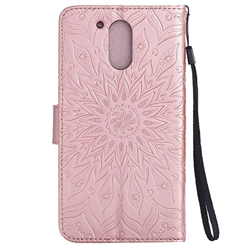 Für Moto G4 Fall, Prägen Sonnenblume Magnetic Pattern Premium Soft PU Leder Brieftasche Stand Case Cover mit Lanyard & Halter & Card Slots ( Color : Pink ) Rose Gold