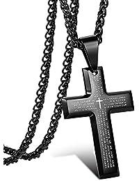 sailimue Acero Inoxidable Collar Cruz para Hombre Mujer Colgante Cruz Biblia Oración Collar Cadena Negro, 61-76CM
