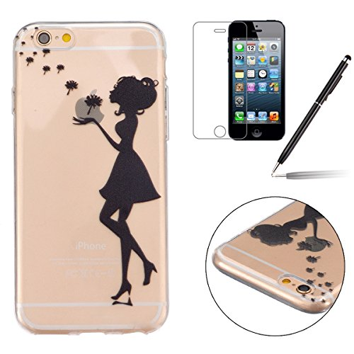 iPhone 6 Silicone Case,iPhone 6S Coque - Felfy Ultra Slim Flexible Transparent Soft Gel Case Cover Coque Etui couleur Peint Beaux Motifs Style Protection TPU Case Cover (Life Love) +1 x Noir Stylus +  Pissenlit Fille