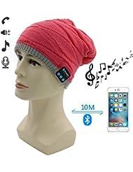 Bluetooth Hat, Amytech Bluetooth Lana Beanie Hat Invierno caliente cálido punto de casquillo con auriculares inalámbricos auriculares auriculares estéreo micrófono manos manos libres para correr patinaje de esquí de senderismo, regalos de Navidad,Rojo