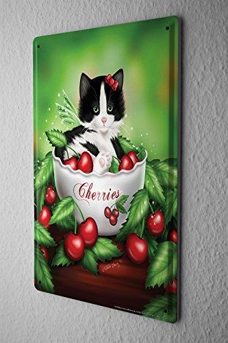 Blechschild Katze Deko Schwarz weißes Kätzchen in Schale Kirschen Metall Deko Wand Schild 20X30 cm