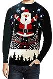 Erwachsene Jahreszeiten Gruß Skifahren Santa Leuchtend Weihnachts Pullover - Skifahren Santa - Schwarz, XL