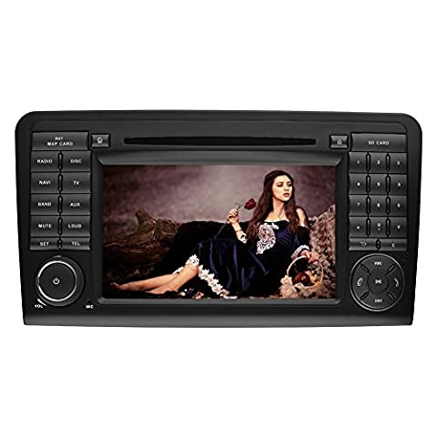 YINUO 7 pouces 2 Din écran tactile Autoradio Lecteur de DVD GPS Navigation avec Bluetooth pour Mercedes-Benz ML-W164/W300/ML350/ML450/ML500(2005-2012)