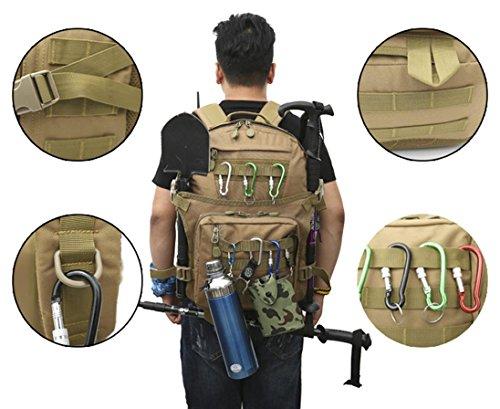 40L Walking Rucksack mit Molle Tasche / Military Bag / Military Rucksack / Rucksack Soldat / Camping Tactical Rucksack (Camouflage / Schwarz / ACU / Khaki) E