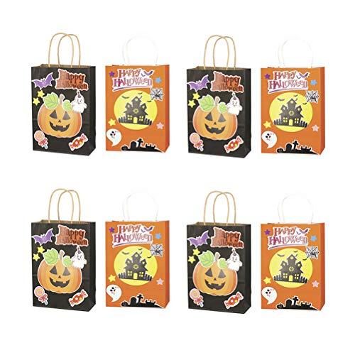 AMOSFUN Bag DIY Pumpkin Castle Paper Hand Bag Halloween Candy Bag for Kid Children Party Present Bag Supplies 8pcs (Pumpkin and Castle for Each 4pcs) (Paper Bag Designs Halloween)
